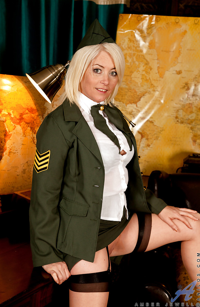 Sexy women naked in military uniform