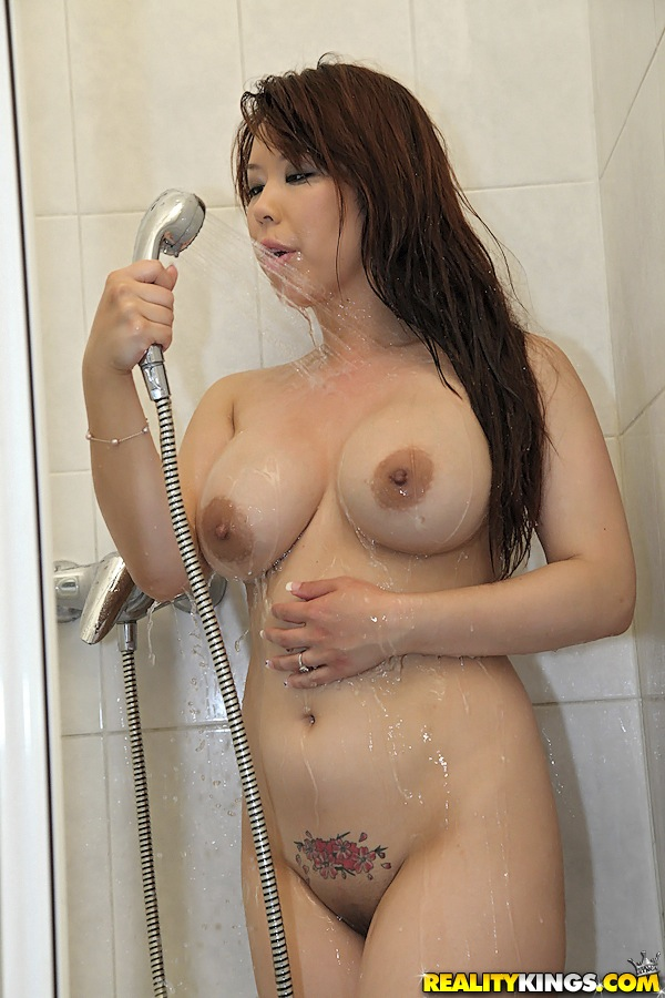 asian nude shower - ... Voluptuous asian babe with petite ass Tigerr Benson taking shower ...