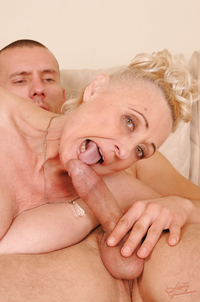 Slutty granny with shaved cunt sucks and fucks a hard young cock
