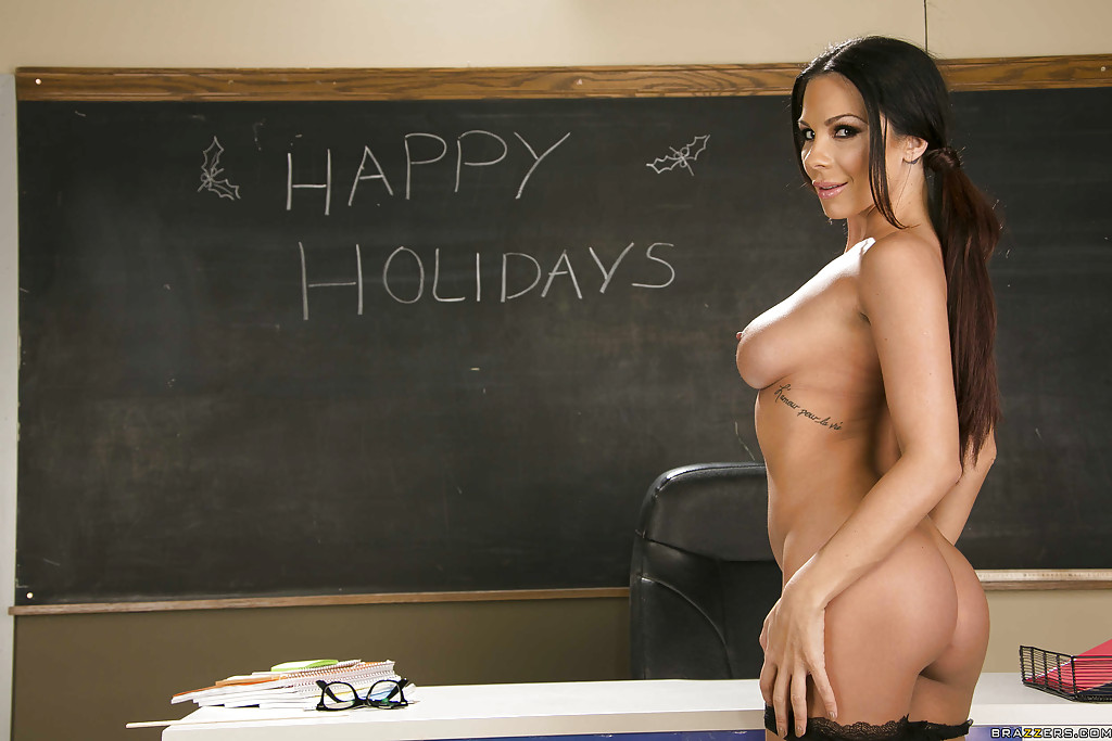 Arousing teacher in glasses Kirsten Price stripping in the classroom