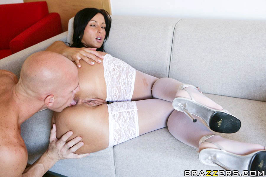 big tits anal stockings big cock - ... Steaming hot brunette in white stockings takes a big cock in her ass ...