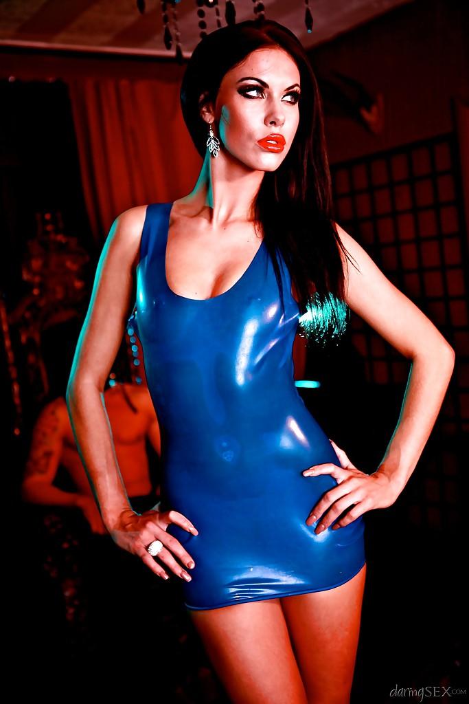 Latex dress blue