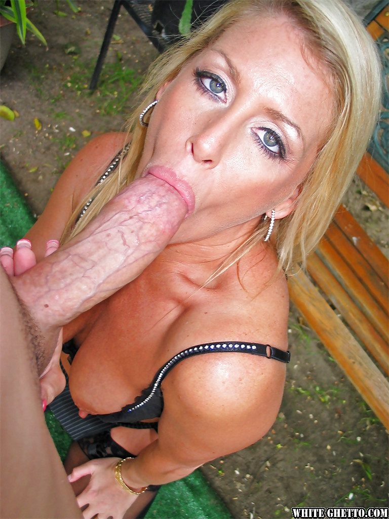 blonde milf sucks cock