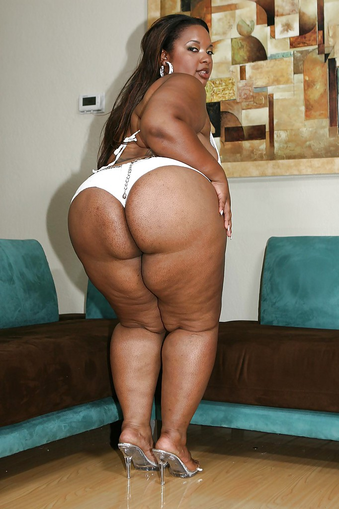 fatty ebony lassie with giant butt slipping off her tiny