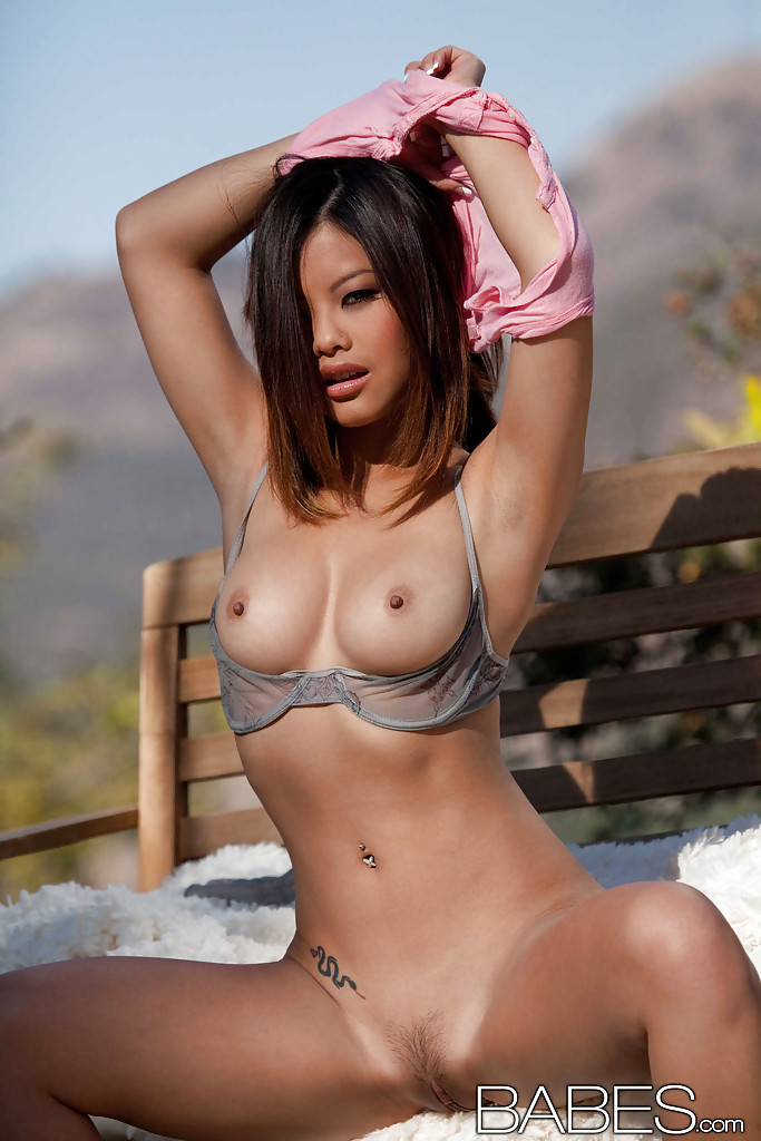 korean babe tits - ... Petite asian babe with shapely tits getting naked outdoor ...