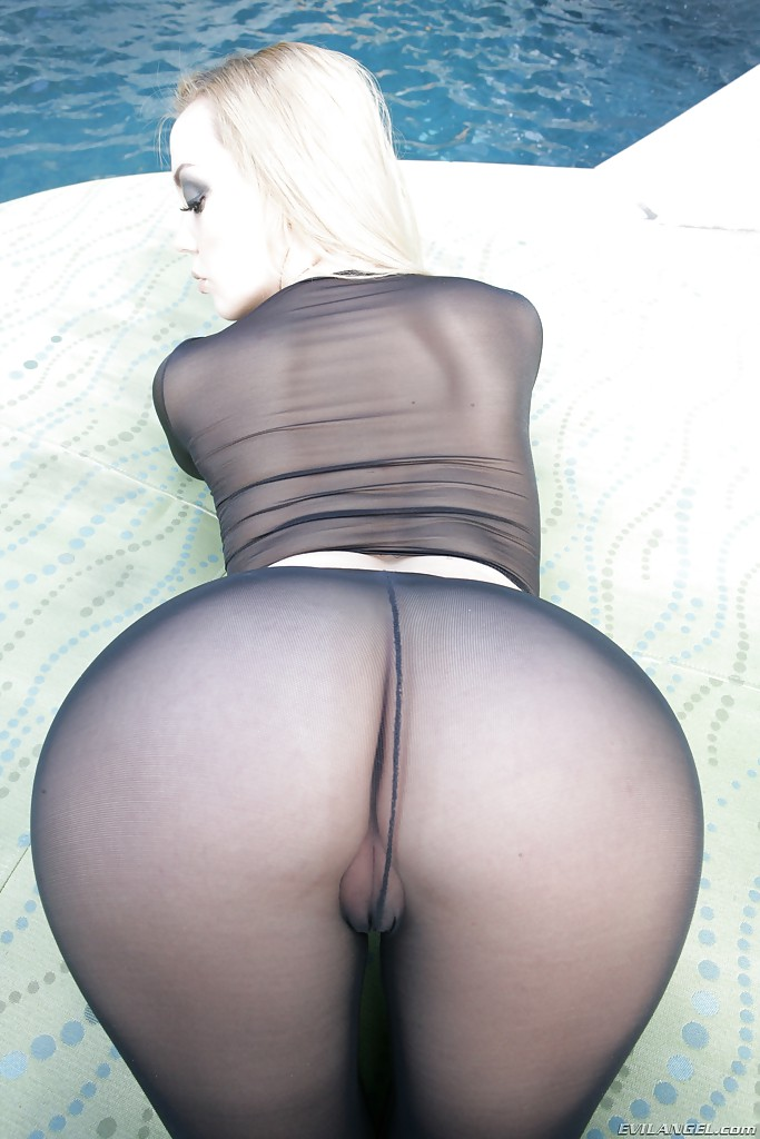 Vampish Babe In Nylon Outfit Annette Schwarz Revealing Her Amazing Ass