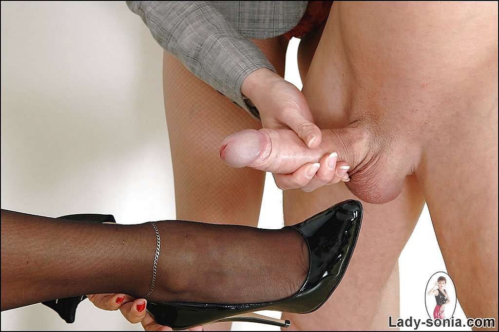 high heel cum on feet - ... friend's foot · Mature fetish lady jerking a cumshot out right on her  friend's ...