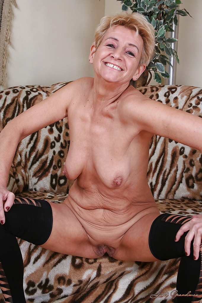 Hairy granny stripping