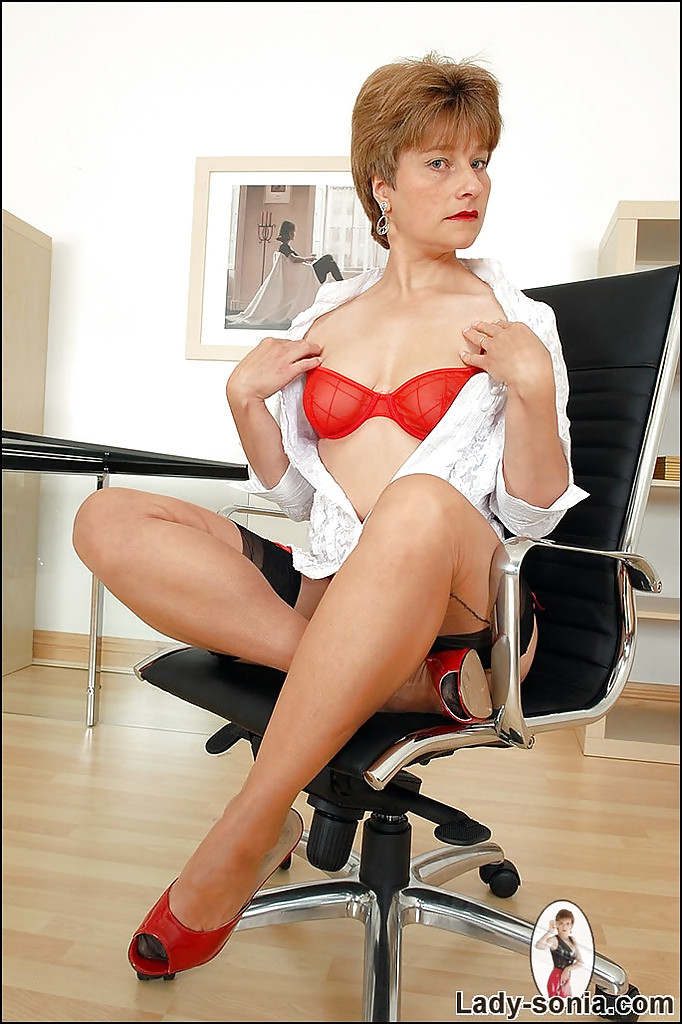 Remarkable, rather mature office stockinged ladies