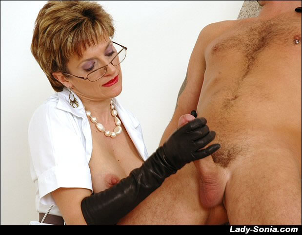 Leather gloved handjob pics — 1