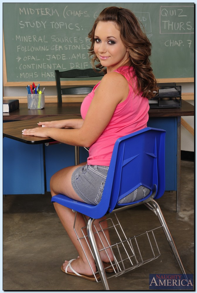 Cute coed Chrissy Nova stripping and teasing her pink hole in the classroom  ...