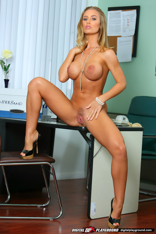 in Posing the office nude