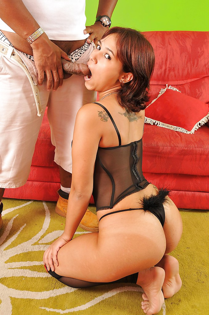 hot ass slut in lingerie camille castro blows and fucks a fat black