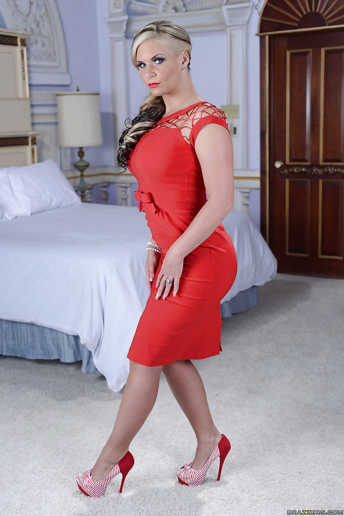 Great milf in red dress