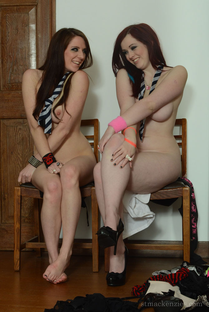 Bored Schoolgirls With Nylon Clad Legs Have Some Kissing And Stripping Fun
