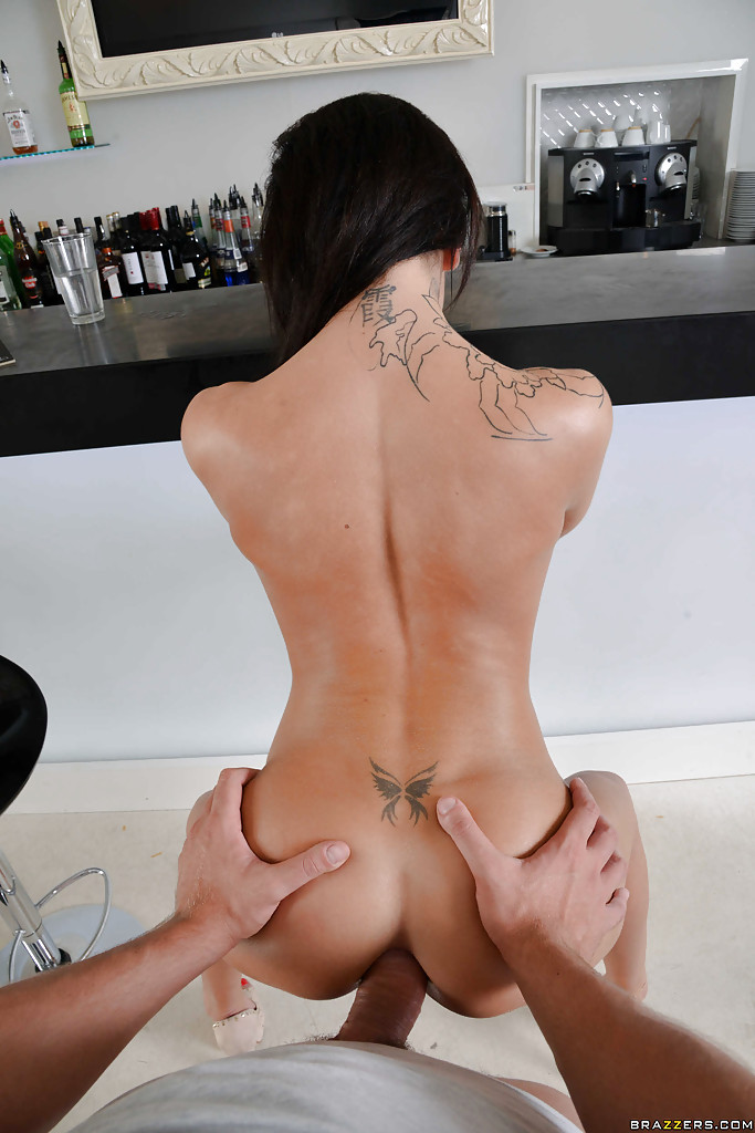 Inked tgirl licks balls after getting plowed