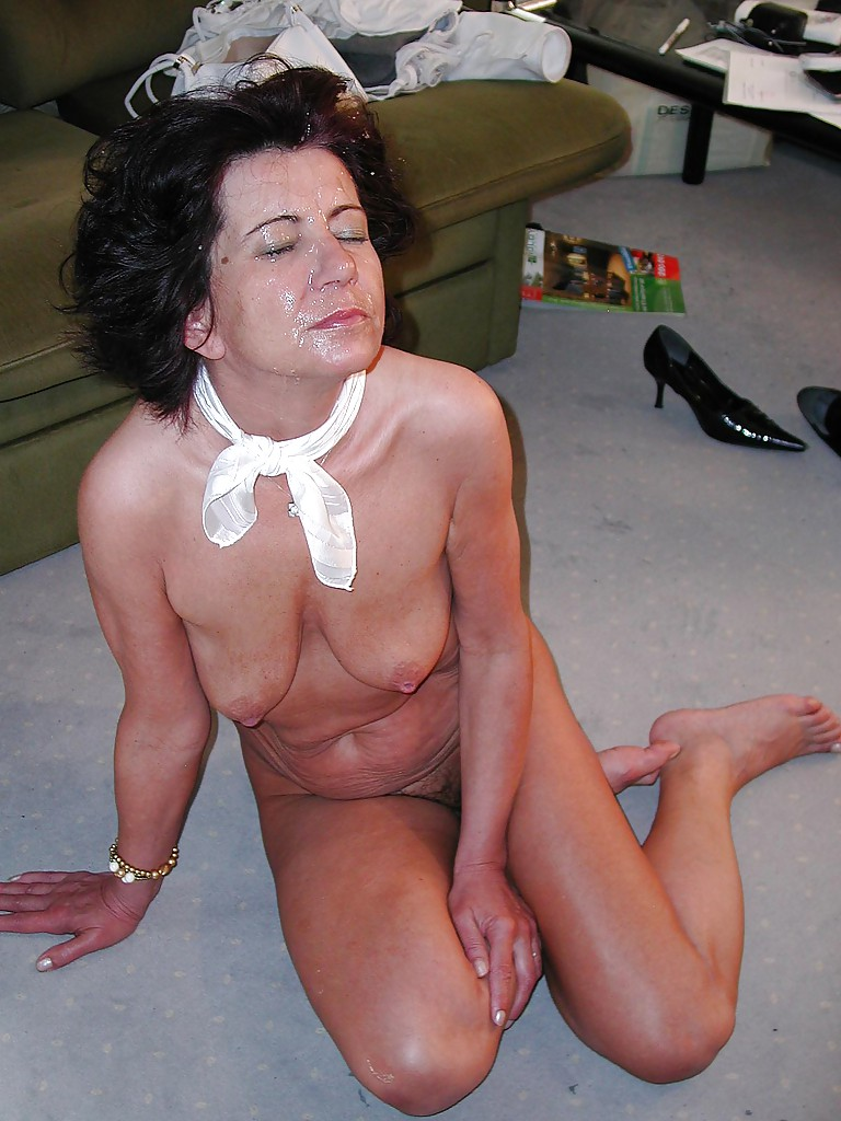 Brunette mature slut gets fucked and jizzed all over her eager face