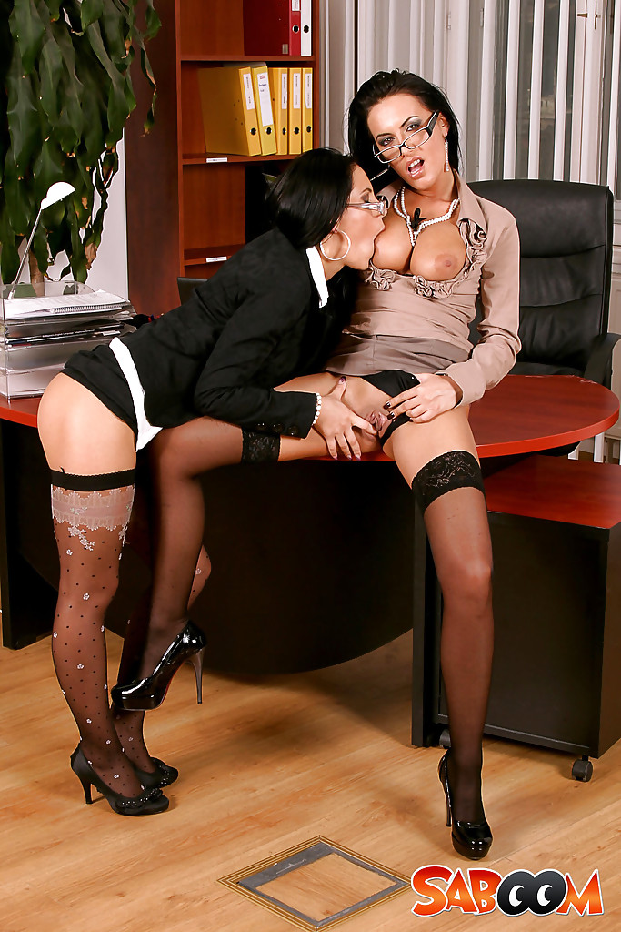 Ravishing office ladies have partly clothed lesbian sex ...