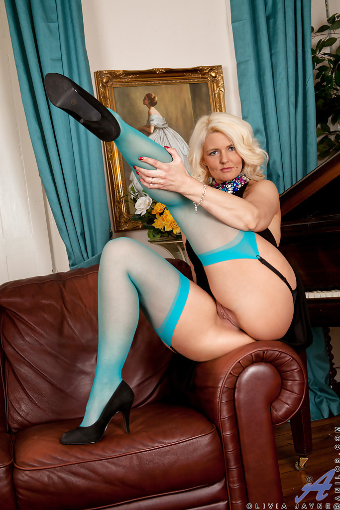Blonde Big Tits Blue Stockings