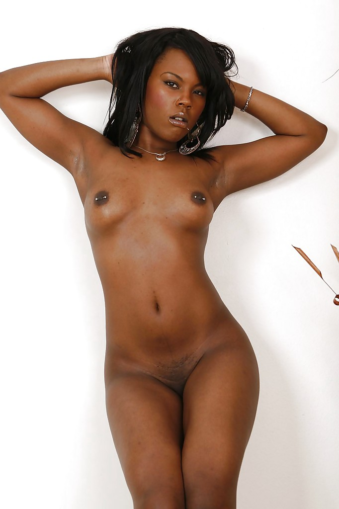 Ebony pierced nipples strapon