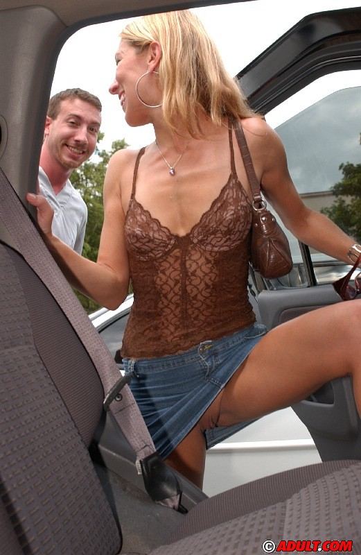 MILF having fun in the car