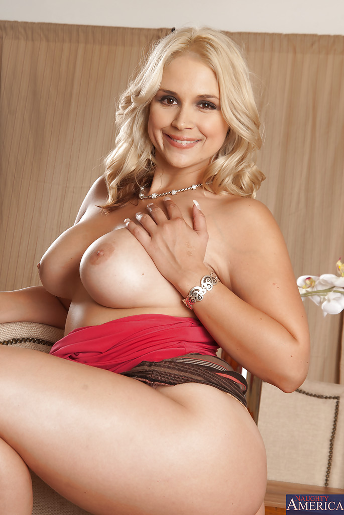 Frolic blonde MILF with round boobies undressing and tteasing her gash