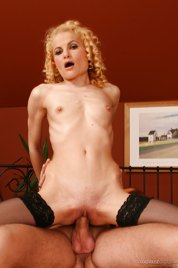 ... Skinny curly-haired slut in nylons gives head and gets anally shafted  ...