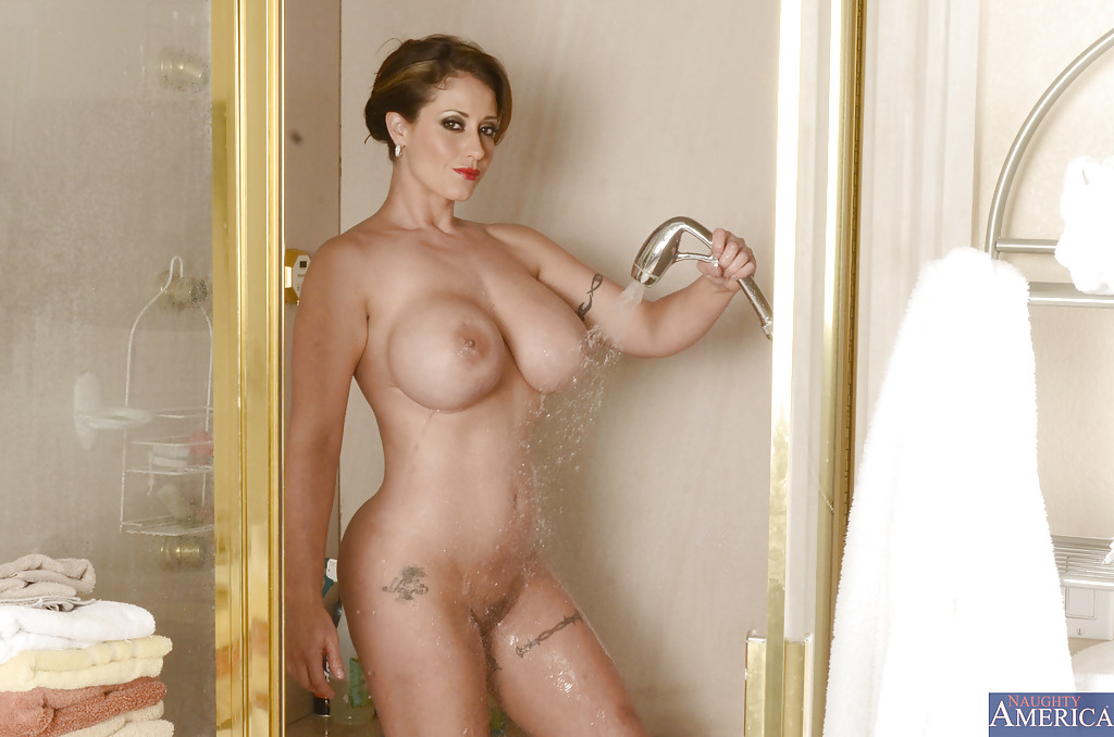 Facial big tits in shower video