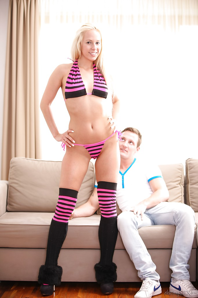 And striped pantyhose white green
