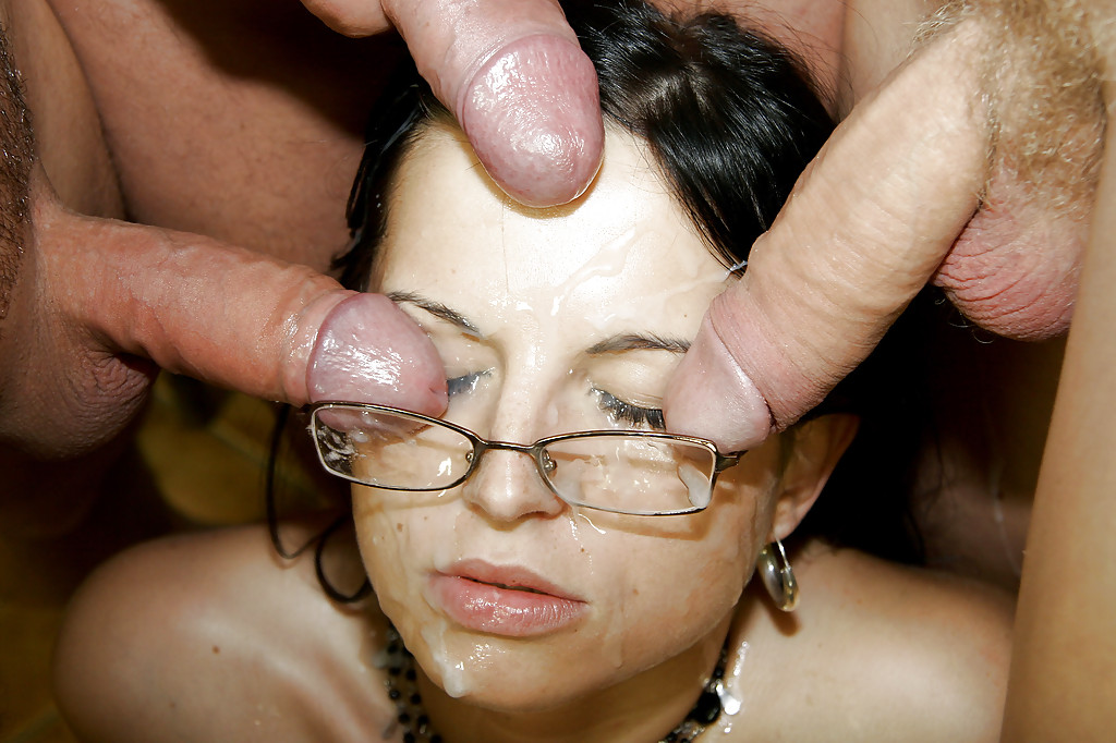 glasses face her with cum on Girl