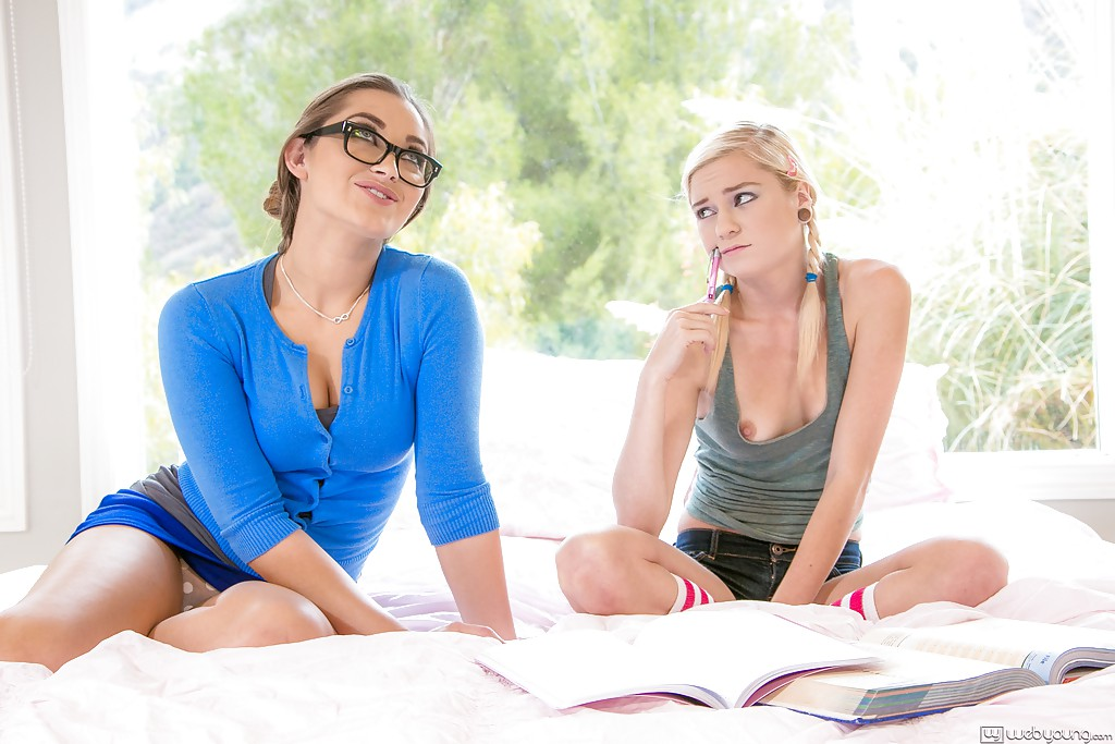 ... Naughty teen with pigtails has a passionate lesbian sex with her hot  teacher ...