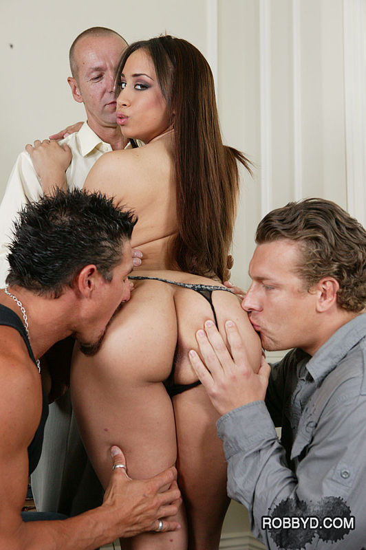 ... Crummy long-haired Latina is involved in a very exciting gangbang ...