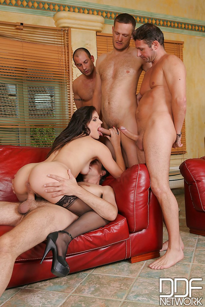 Two milfs stockings gangbang