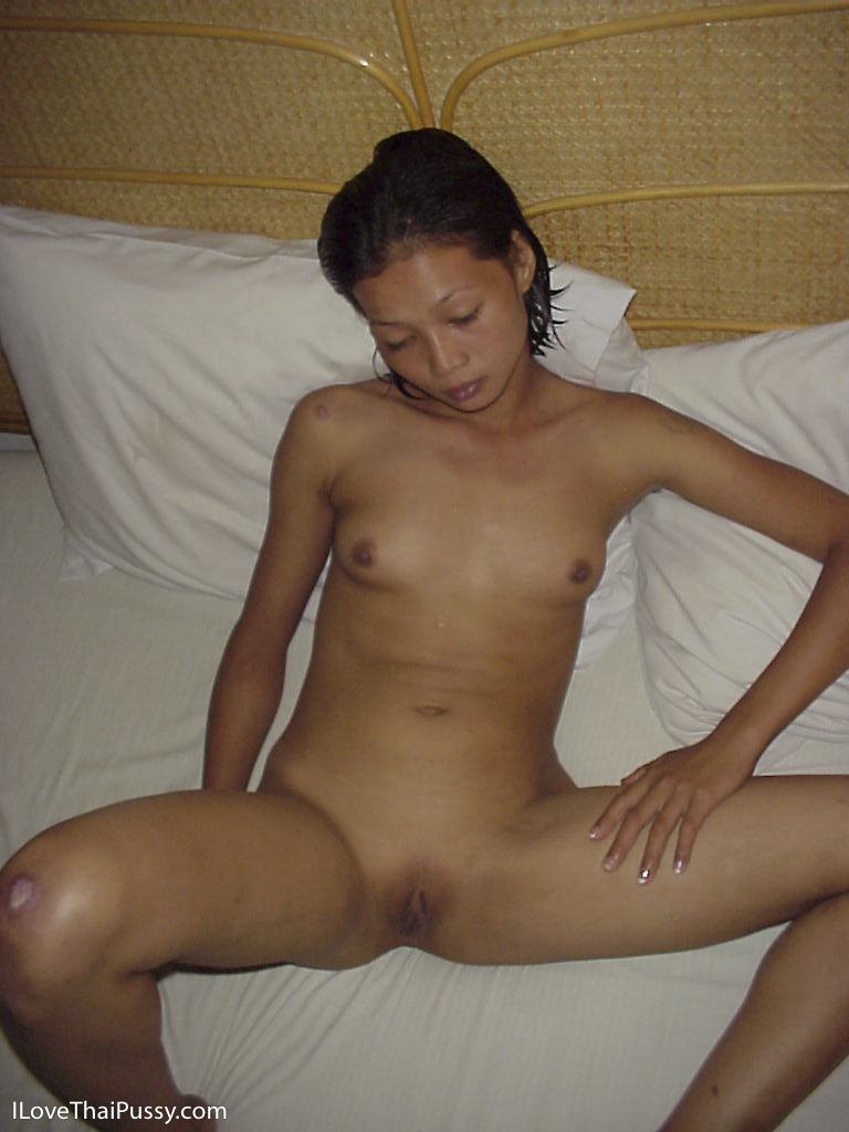 Tiny shaved Cambodian pussy ... Skinny Asian slut exposes her cleanly shaved kitten and pussy lips ...