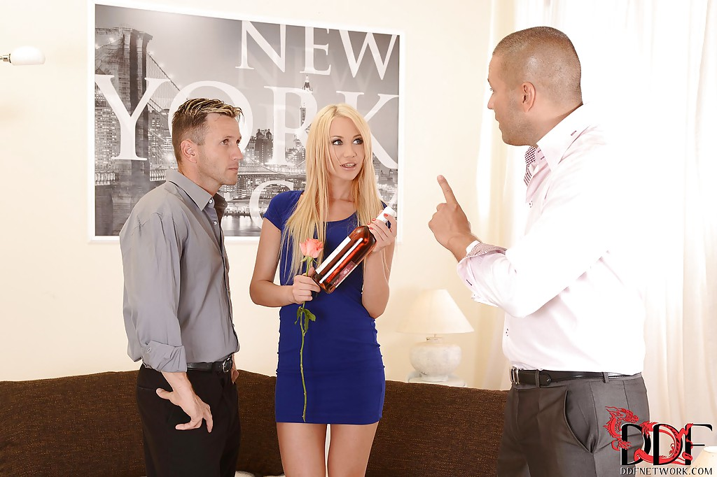 European blonde Lindsey Olsen presents blowjob in the threesome scene