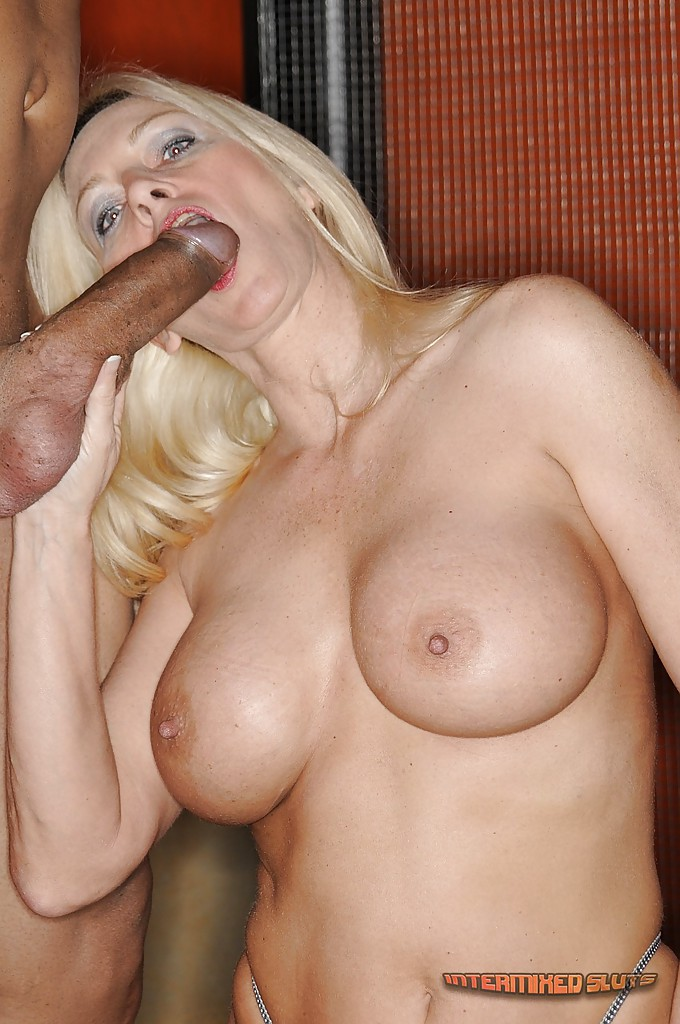Blonde sucks big dick she's
