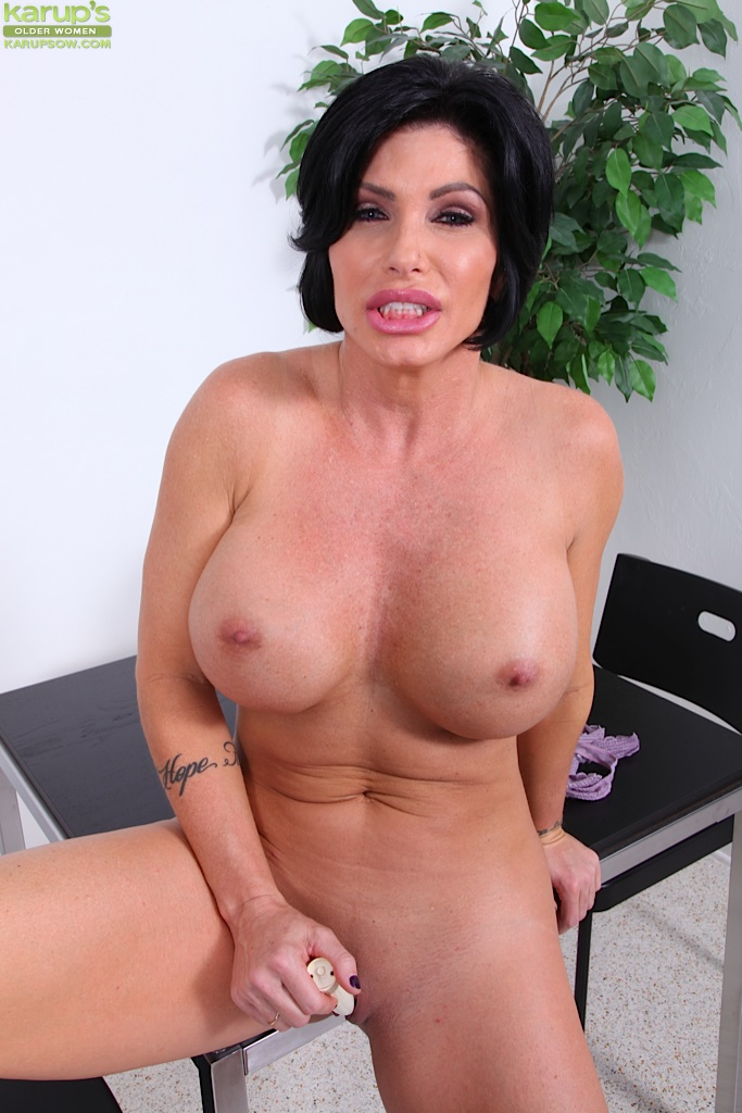 Old lady with fake tits