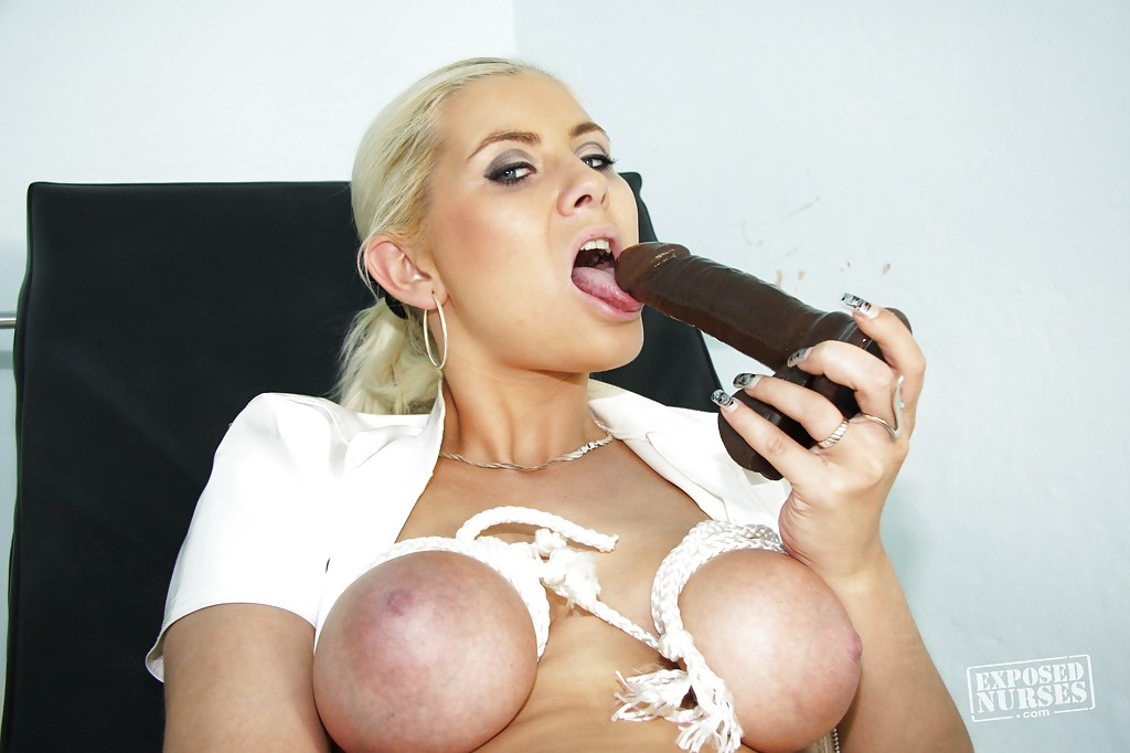 Cool and sexy nurse Alexa Bold licking nipples and playing with toys