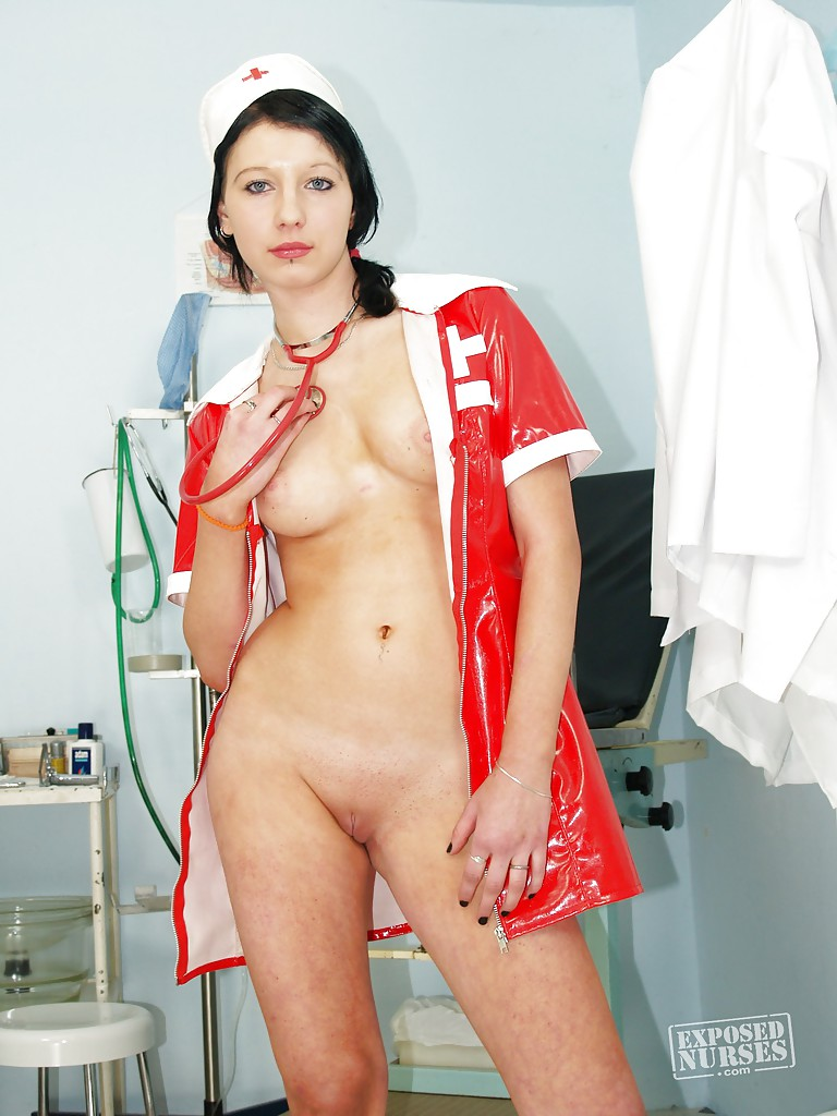 cute brunette nurse in red uniform showing that close up pussy