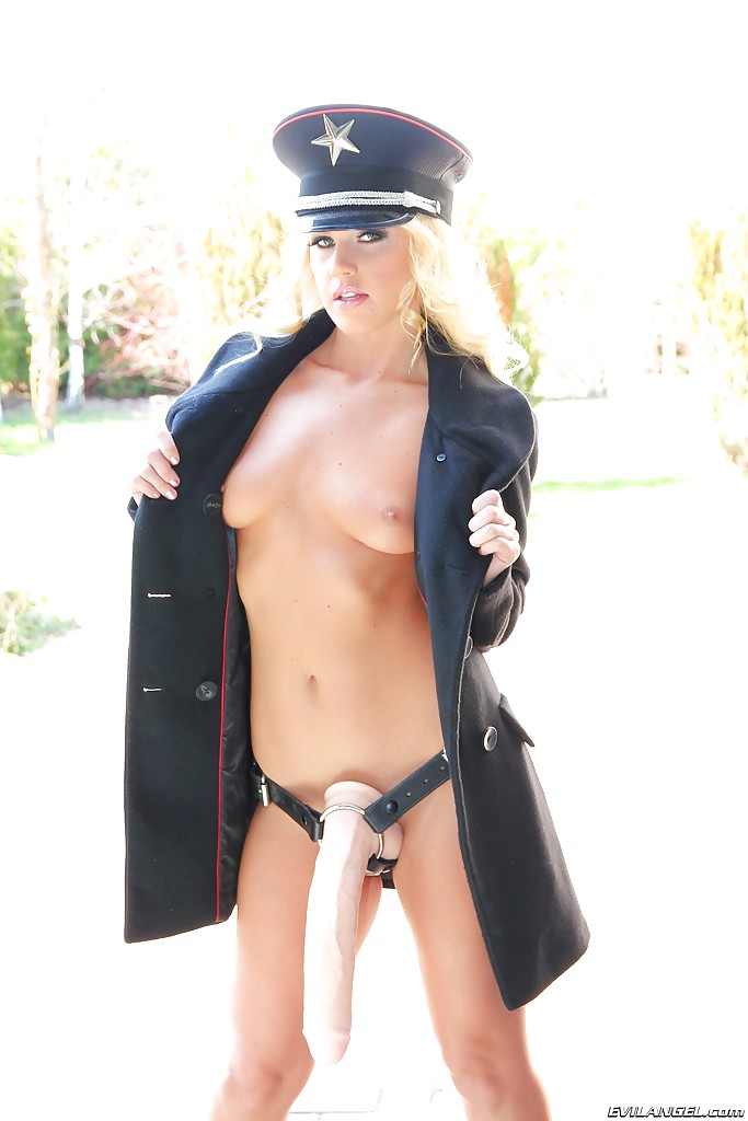 Blonde police uniform and cop gagged