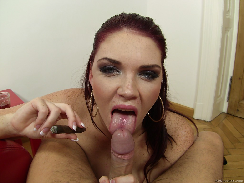 big tit smoking and blowjob