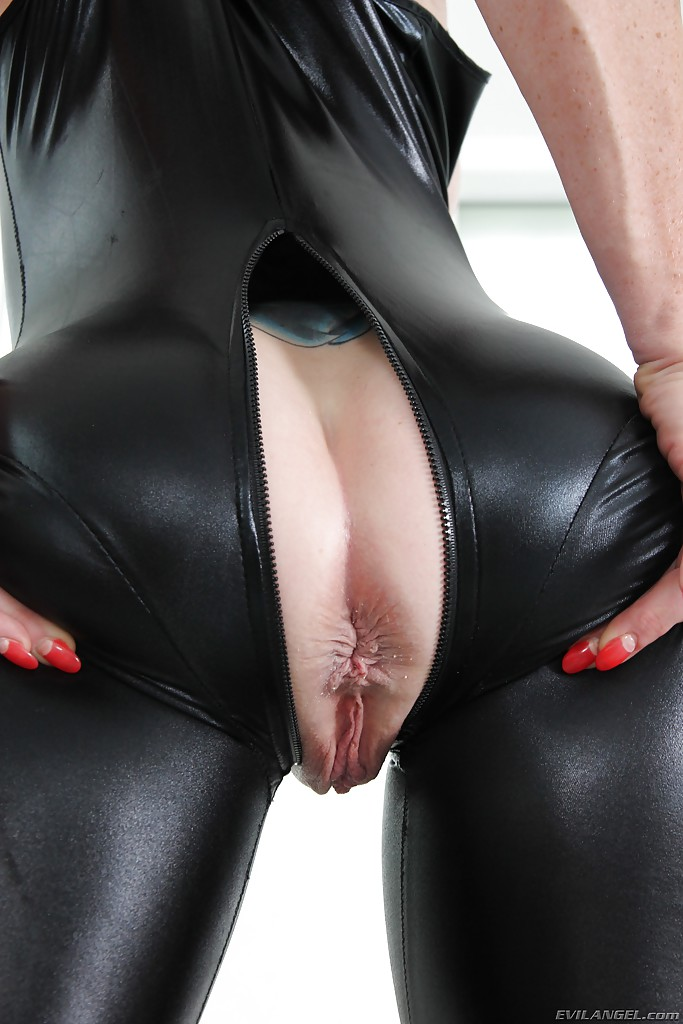 Blonde babe ass pussy black latex
