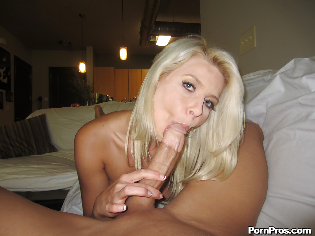beautiful blonde girlfriend annika giving a wet and gentle blowjob