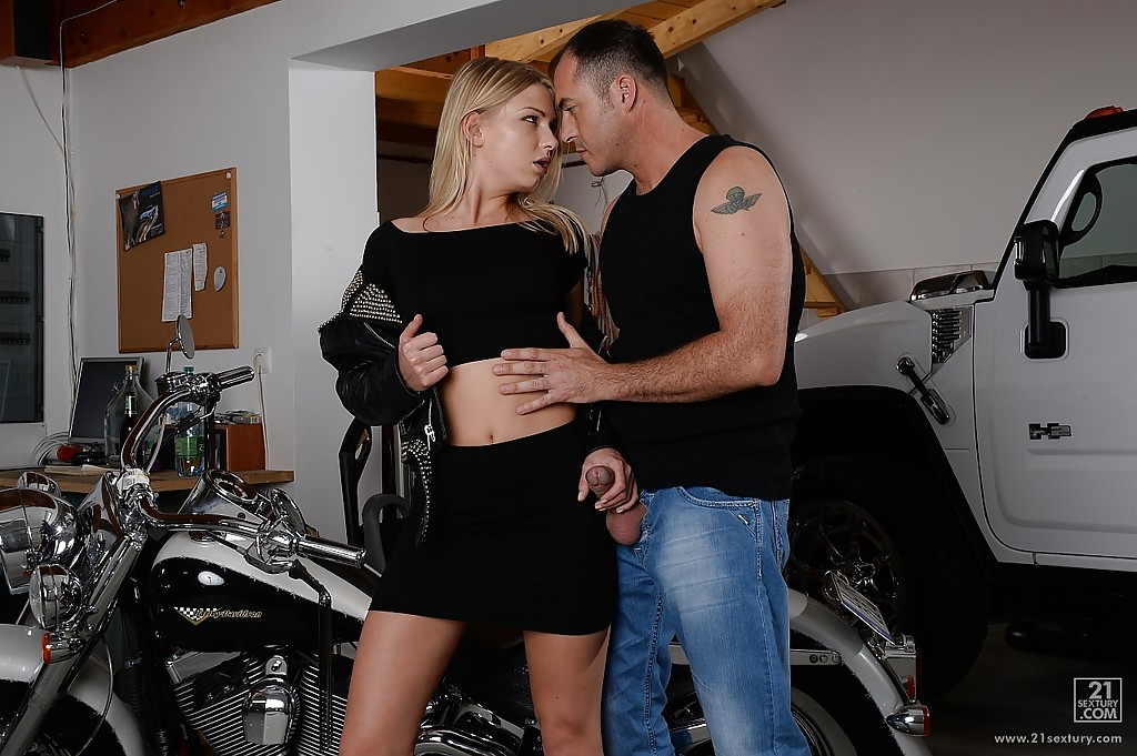 Motorcycle blowjob on