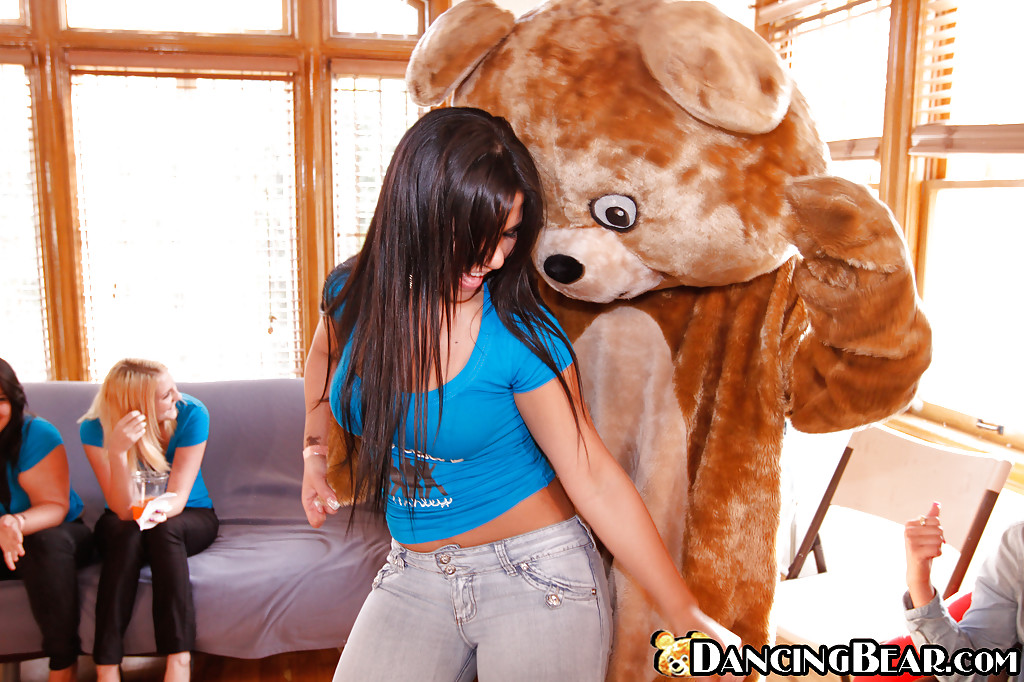 CFNM party with busty clothed chicks and a sexy wild bear dancing around