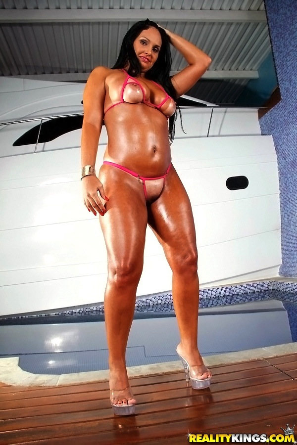 Oiled Latina Babe Liliane Martins Is Demonstrating Her Ass In A Bikini