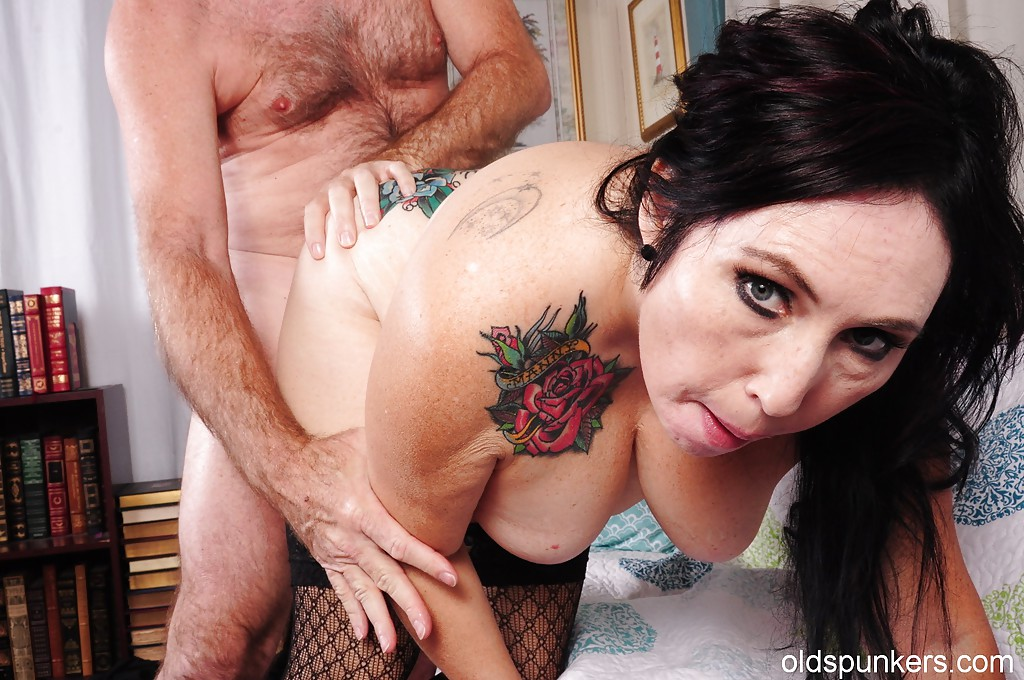 big tits mature tattoo - ... Big tits mature with sweet tattoos is ridding a huge cock of her man ...