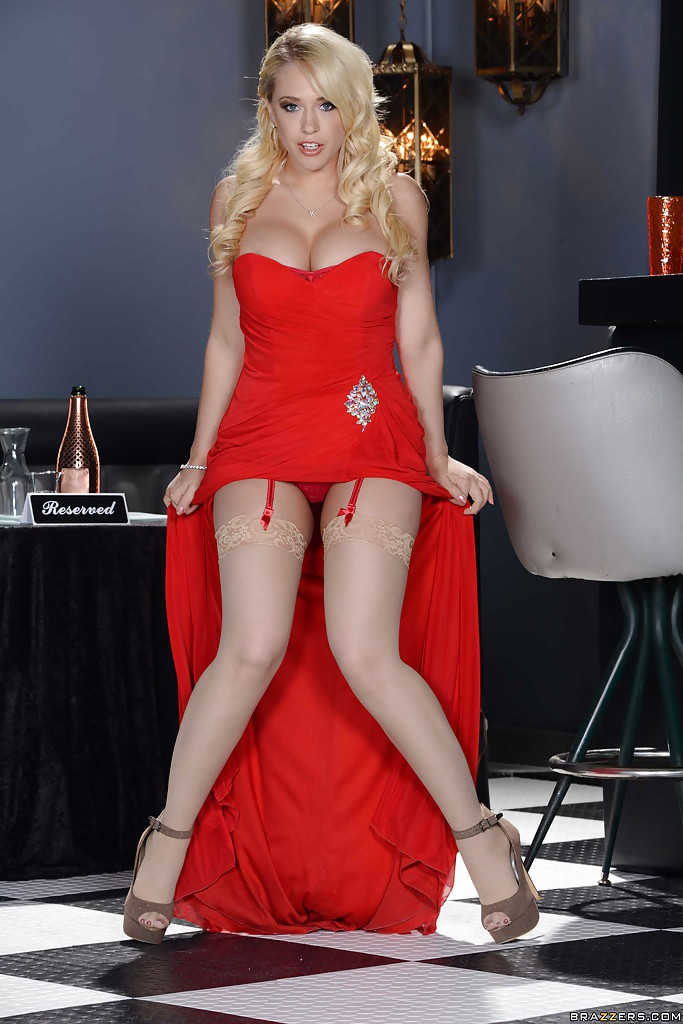 Sexy blonde red dress will