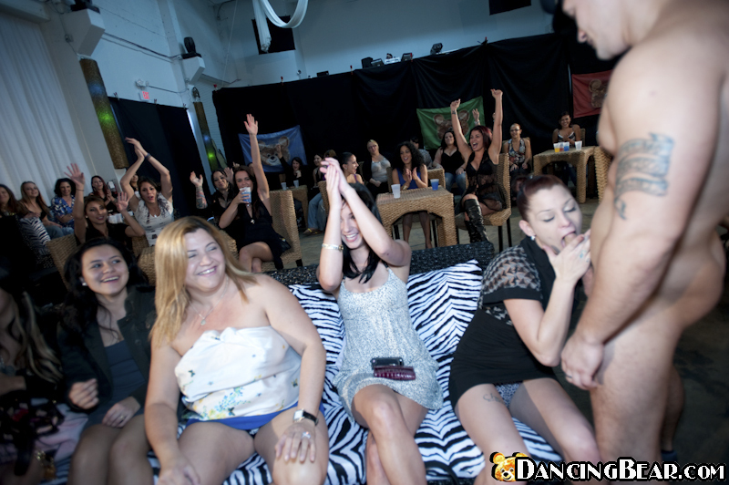 Clothed girls are enjoying their wild party while doing blowjobs