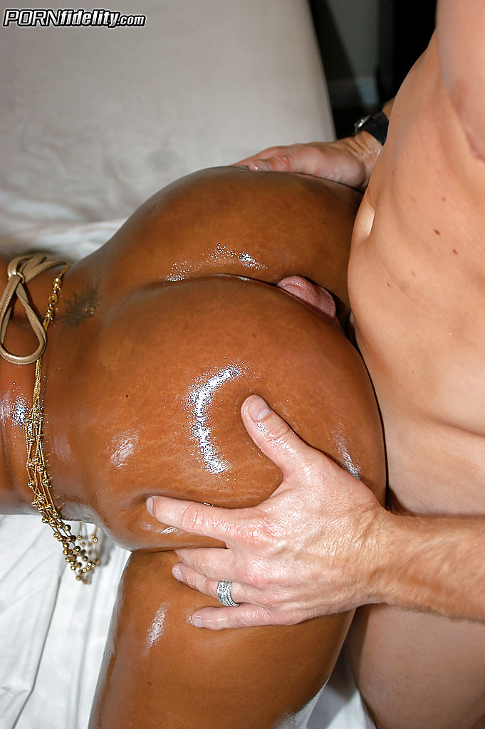 Big black oiled ebony ass and pussy